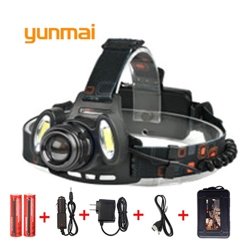 yunmai USB Power Led Headlight Headlamp 7000 lumen NEW xml t6+2 COB Head Lamp Torch 18650 Battery Hunting Fishing Light t6 led headlamp usb charging headlight waterproof induction head torch flashlight head lamp fishing hunting work light cob 18650