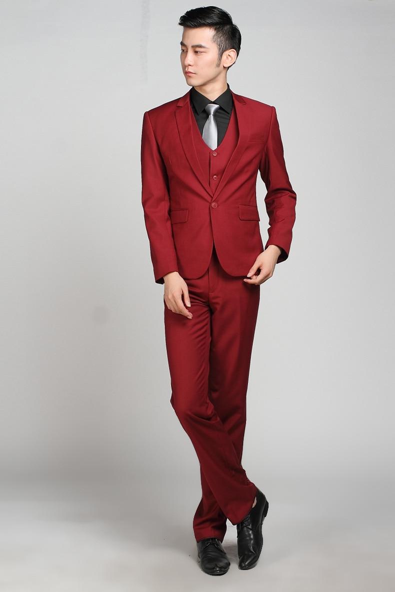 Homme Ternos De Pour Button Rouge One Smoking Costume Costumes Mariage Formelle Slim Marié Hommes Vin pantalon Masculino Veste Fit EwXqaxHO