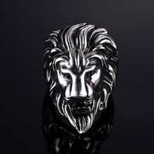 Punk 316L Stainless Steel Ring Titanium Ring Men AFRICAN LION KING Ring US Sizes Animal Jewelry BR1105