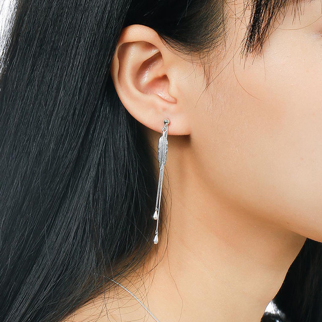 SA SILVERAGE Real 925 Sterling Silver Drop Earrings Fine Jewelry For Women Long Feather Tassel 2017 Hot Sale
