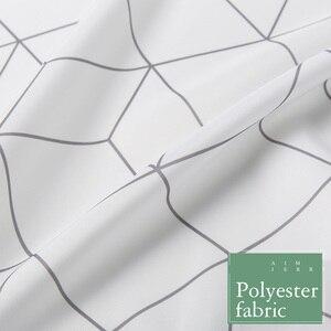 Image 5 - Aimjerry rideau de douche en tissu pour baignoire blanc et gris, pour salle de bain, avec 12 crochets, 71W x 71H, imperméable et anti moisissures de haute qualité 041
