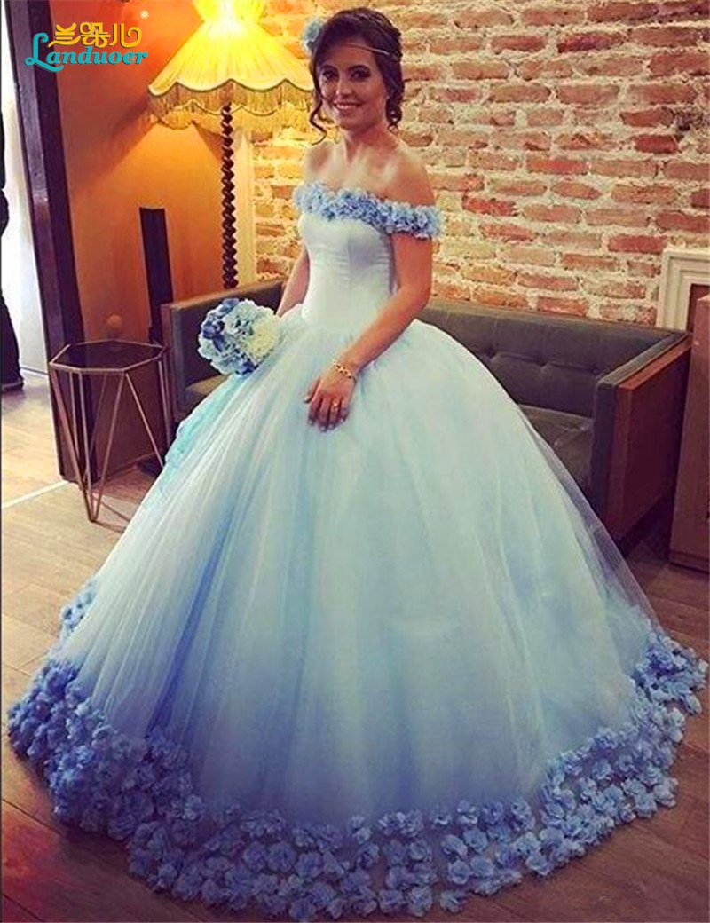 Buy light blue wedding dresses 2017 ball for Blue wedding dresses plus size