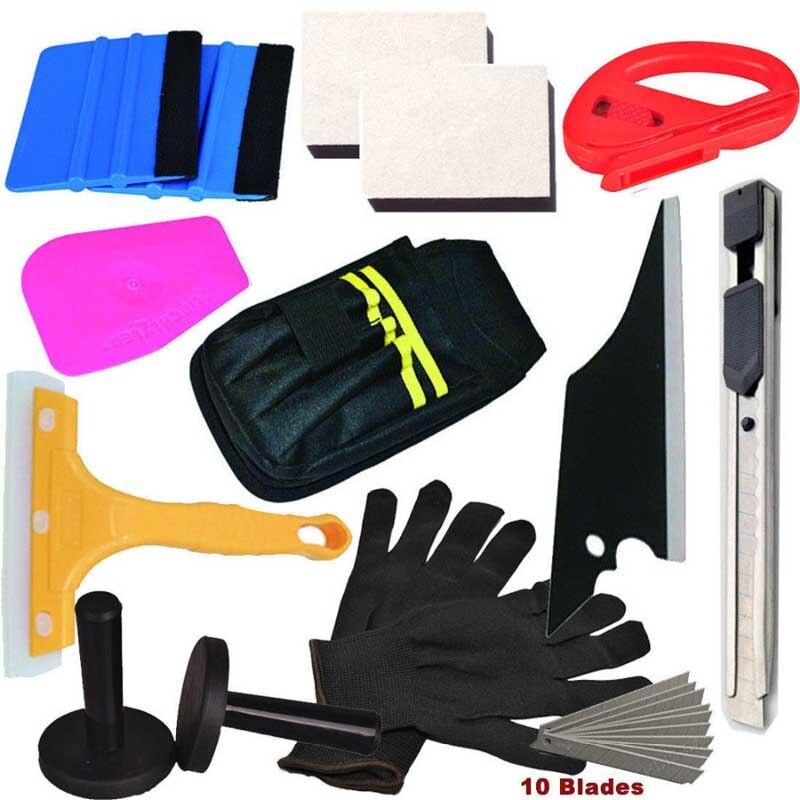 TACARO 14 pièces Standard Pro trousse à outils Combo housse de voiture en vinyle sac raclette rasoir gant aimant bricolage