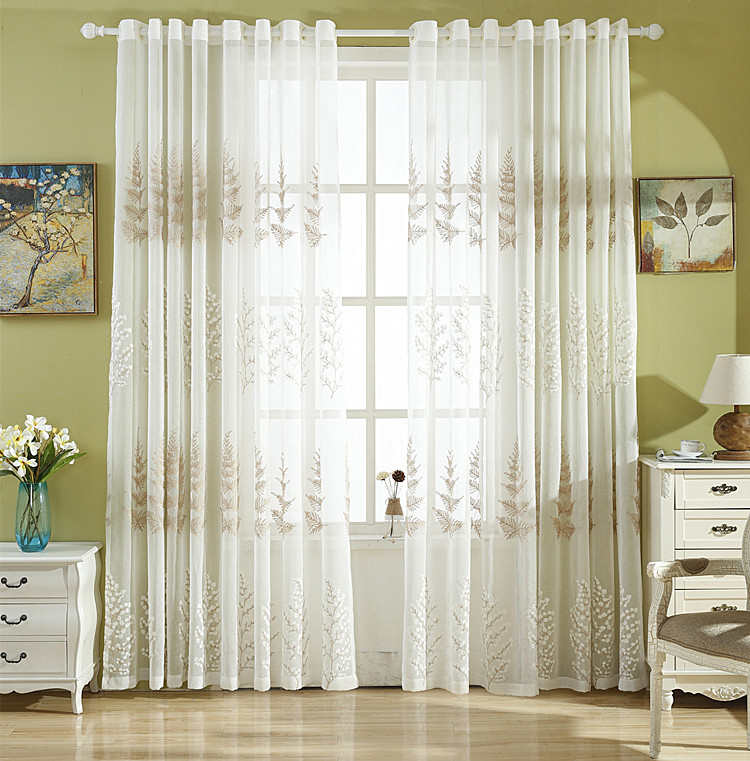 US $16.0  Leaf Embroidered tulle white American farmhouse style living room  Bedroom Curtain Indoor Window decoration-in Curtains from Home & Garden on  ...