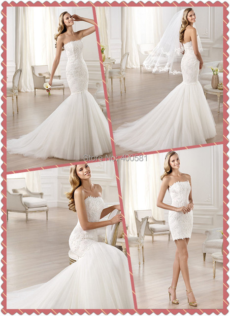 Cute Mermaid Floor Length Sweep Train Strapless Lace Liqued On Ed Bodice With Removable Tulle Bottom
