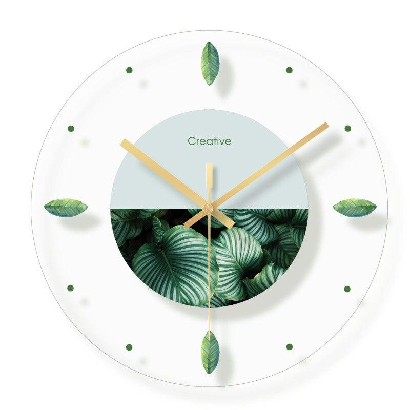 Verre vert Transparent horloge murale silencieux moderne nordique Design moderne Designer Quartz horloges murales 3D maison Klok horloge maison 50w065