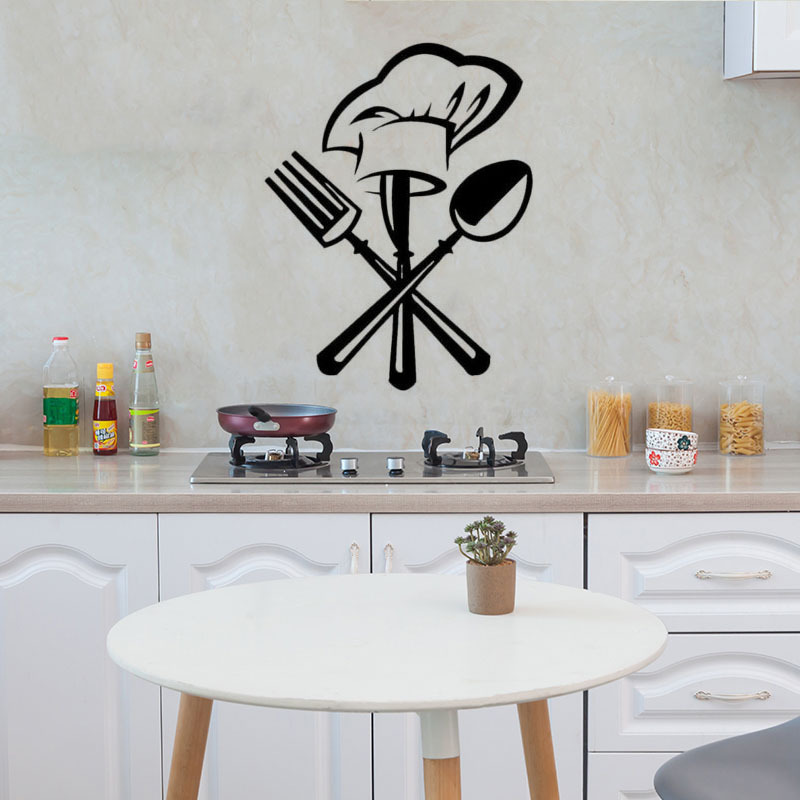 Creative Cutlery Knife Fork Chef Hat Wall Sticker For Kitchen Restaurant Decoration Mural Decals Wallpaper Home Decor Stickers