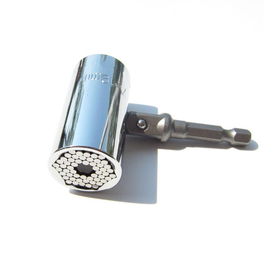 Milda 2 Pcs/Set Magic Spanner Grip Multi Function Universal Ratchet Socket 7-19mm Power Drill Adapter Car Hand Tools Repair Kit