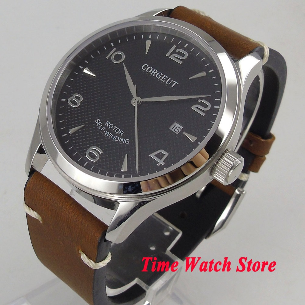 3f822923c37 Polido 42mm CORGEUT relógio dos homens mostrador preto data vidro de safira  luminosa 21 jóias 821A