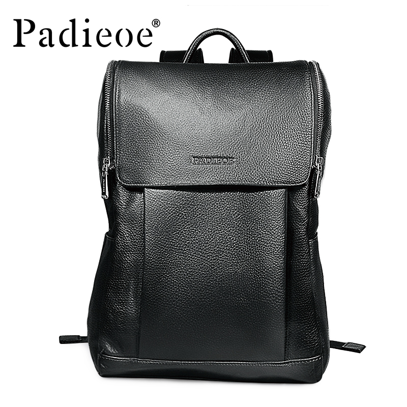 Brand Padieoe Genuine Leather School Bags For Teenagers Backpack Men And Women Travel Casual Cowhide Laptop Backpack Free Ship