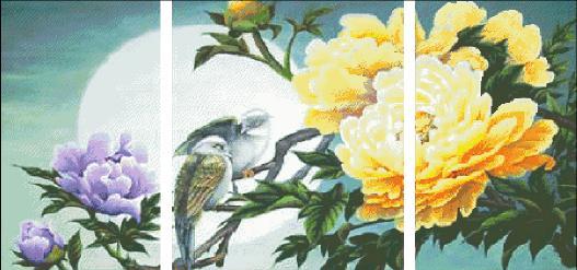 Triptych Peony flower Magpie Bird Art Handmade Needlework Embroidery DIY DMC Cross Stitch Kits Crafts 14CT