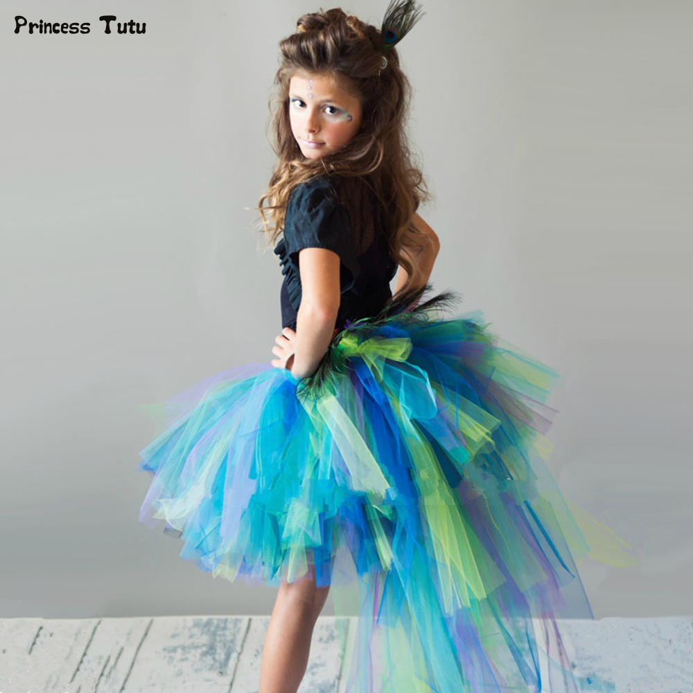 Peacock Feathers Girls Tutu Skirt Trailing Tulle Baby Girl Tutu Skirt Fluffy Kids Skirts For Girls Party Halloween Costume 1-14Y