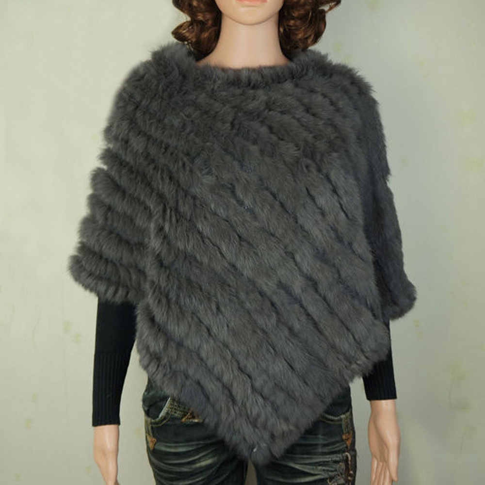 YCFUR Warm Winter Shawls Ponchos For Women Handmade Knit Real Rabbit Fur Poncho Women Scarves Shawls With Fur Collar