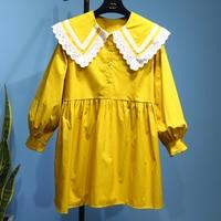 College wind doll hollow lace collar first love skirt loose falbala lantern sleeve shirt dress the doll