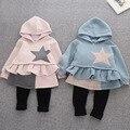 Novas roupas da moda menina crianças 2 a 8 anos em inverno moletom com capuz da camisola + leggings eles suor terno da menina das crianças roupas