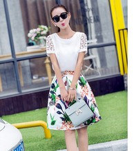 Lace short-sleeved summer new women chiffon dress two-piece skirt suit and Knee-Length dress