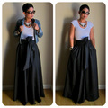 Vintage Black Yellow Solid Cotton Bow Belt A-line Maxi Floor-Length Skirts Womens 2016 Autumn TUTU Long Ball Gown Party Skirt