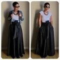 Vintage Negro Amarillo Sólido Algodón Correa Del Arco A-line Piso-Longitud Maxi Faldas Para Mujer 2016 Otoño TUTU Vestido de Fiesta Largo partido de La Falda