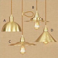 American style whole copper LED Pendant light 4/6/8W droplight contracted bedroom sitting room pure copper lamps and lanterns