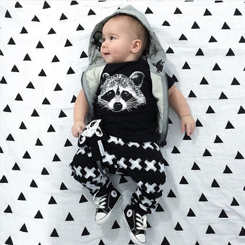 Racoon T-Shirts Cross Pants Baby Clothes Suit Newborn Clothing Set Children Tees Shirts Haren Pants 1 2 3 4 5 6 Year Boys Suit roomble люстра racoon white