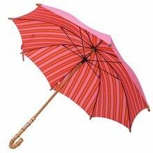 Straight pure nature rattan bamboo handmade wooden umbrellas 210T pongee double layers hand open anti-thunder fiberglass parasol