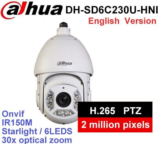 Dahua DH-SD6C230U-HNI 2MP 30x Optical Zoom Starlight IR PTZ Network Camera H.265WDR IP66 PTZ Network Speed Dome Camera ree shipping dahua 2mp 30x network ir