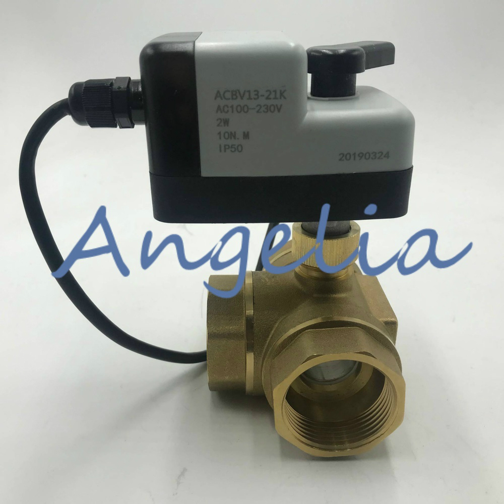 AC110-220V (Universal) G11/2 BSP DN40 Brass 3 Way Manual and Automatic Motorized Ball Valve Electrical Actuator Normally ClosedAC110-220V (Universal) G11/2 BSP DN40 Brass 3 Way Manual and Automatic Motorized Ball Valve Electrical Actuator Normally Closed