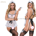 New Maid uniform SM Cosplay sexy lingerie White Lace Black Ribbon Perspective erotic lingerie temptation Free Size sexy costumes
