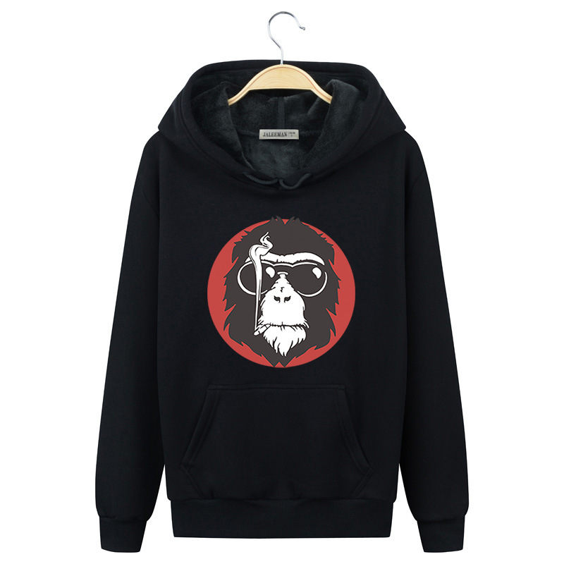 Men's Clothing Official Website New Hoodies Sweatshirt Smoking Monkey Printed Men Women Hoodies Casual Sweatshirts Plus Size Hip-hop Comfortable Hooded Wy034