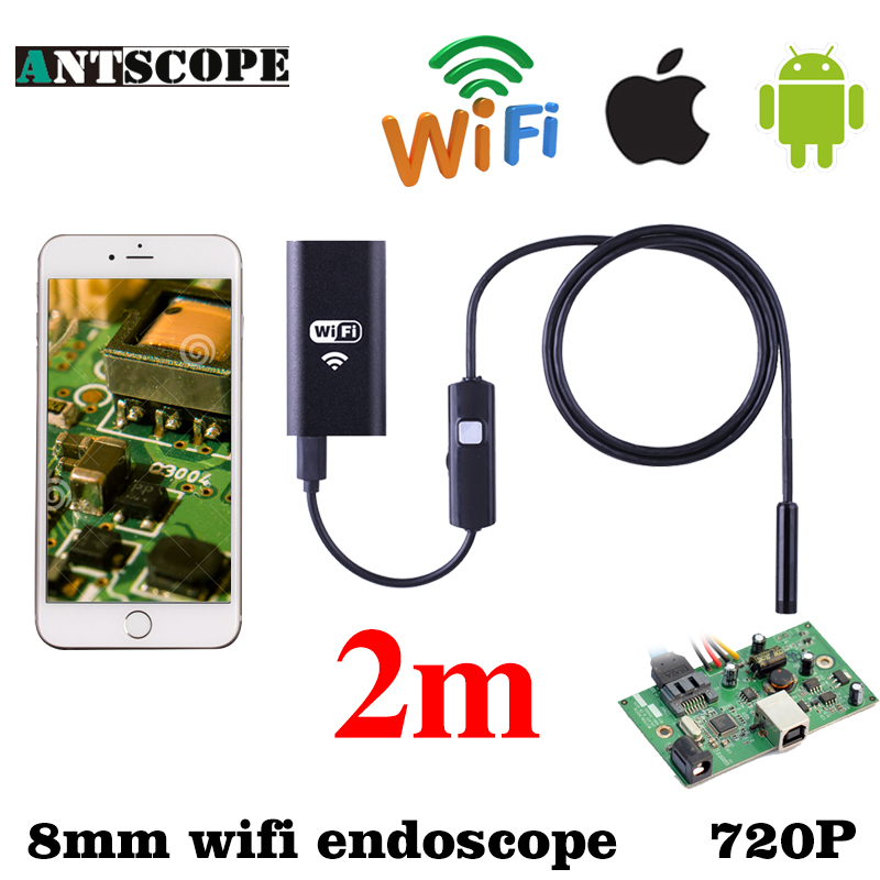 Iphone Endoscope 8mm Waterproof Borescope Inspection Wifi Endoscopio HD Android Endoskop Phone Android IOS Borescopio Camera eyoyo nts200 endoscope inspection camera with 3 5 inch lcd monitor 8 2mm diameter 2 meters tube borescope zoom rotate flip