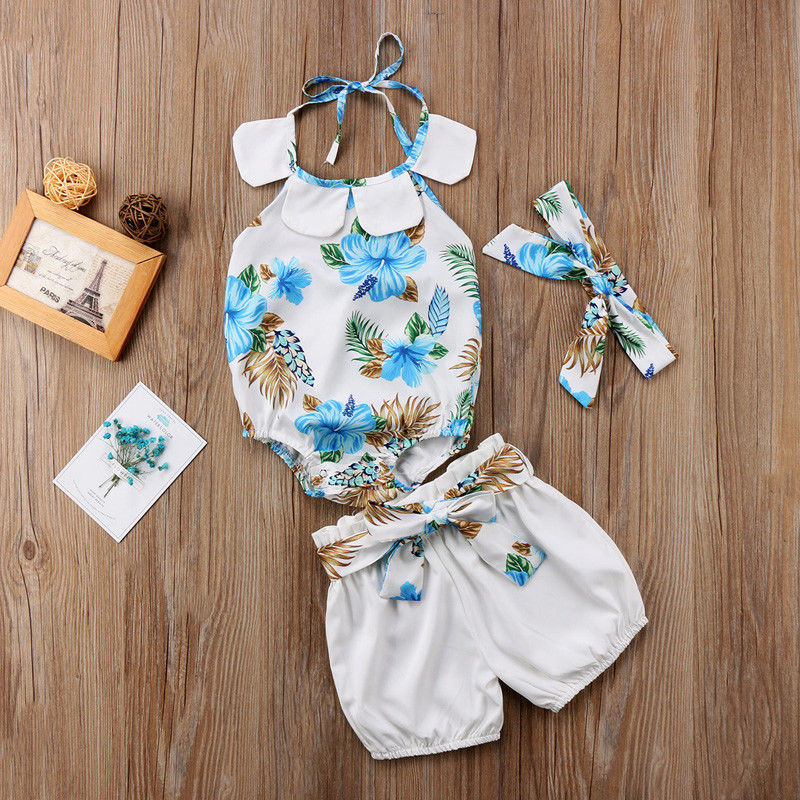 3pcs Newborn Toddler Baby Girls Floral Bodysuits One-Pieces+Shorts+ Headband Jumpsuit Outfits Flower