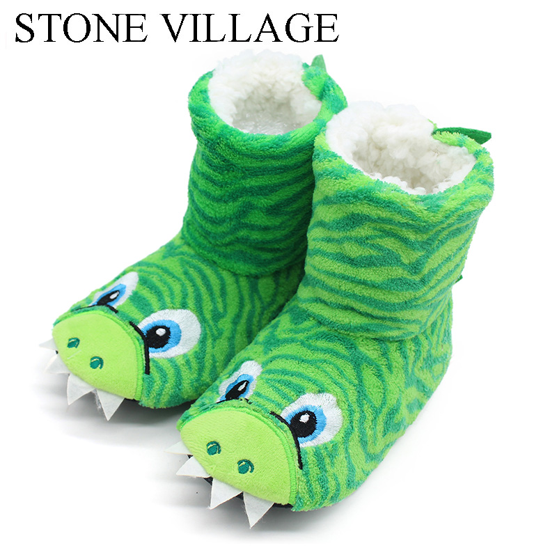 Hot Selling Kids Girls Boys Floor Slippers Cute Animal Soft Warm Plush Lining Non-slip House Shoes Winter Boot Socks 2-7year Old