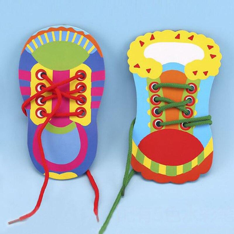 1 шт. новые детские головоломки доска шнуровкой обувь Дети образования Раннее Обучение завязывать шнурки Puzzle игрушки + рисунок ручки