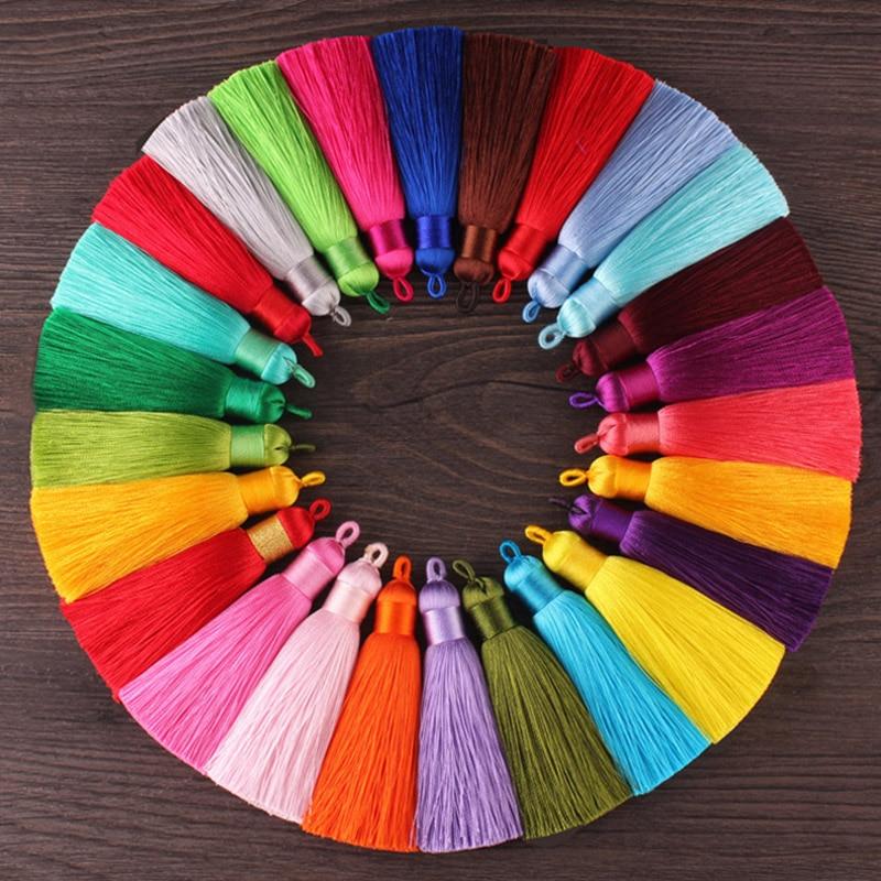12pcs/lot 8cm tassel with Hanging ring silk fringe sewing bangs tassel trim decorative key tassels for curtains home decoration