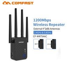 Comfast 1200Mbps אלחוטי Wifi extender Wifi מהדר/נתב Dual Band 2.4 & 5.8Ghz 4 Wi fi אנטנה ארוך טווח אות מגבר