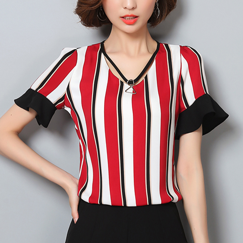 Flower print Short Sleeve Women Blouse Summer Colorful Striped Shirt Elegant Tops Chiffon Shirts Blouses Blusas Femininas 961H3