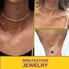 7ee947c97a51 Color oro gargantilla Collar para las mujeres corto estrellas ojo colgante cadena  collares y colgantes cordones