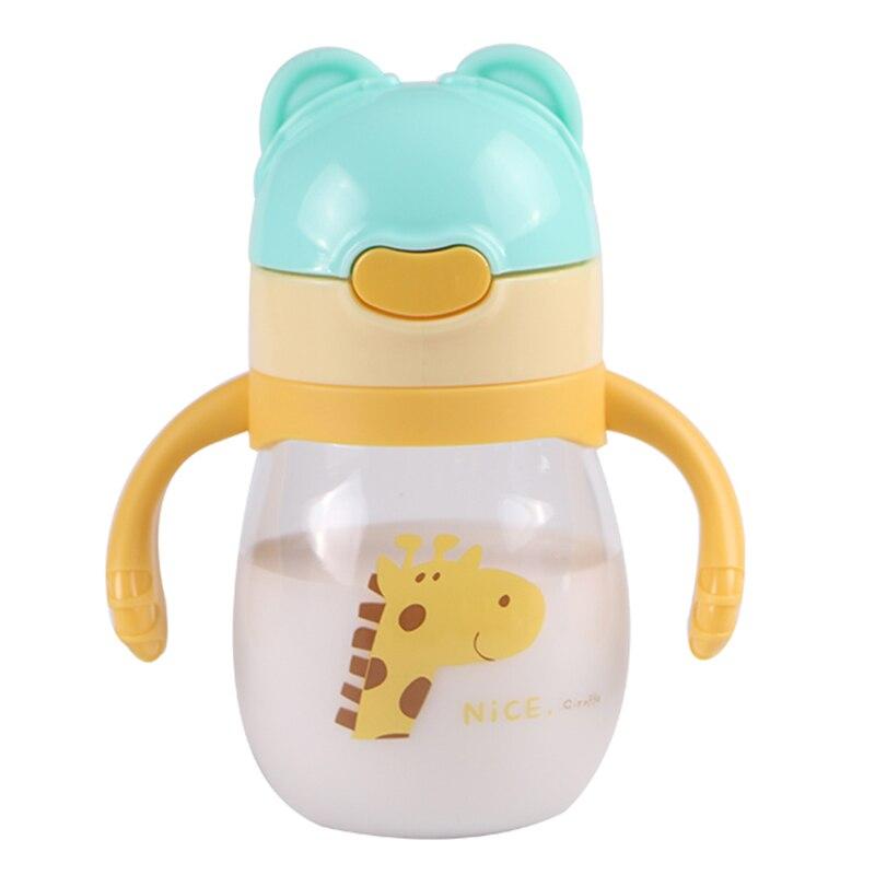 2018 cute cartoon baby feeding bottle children child sweet straw handle sippy cup leaning drinking bottle feeding bottles water