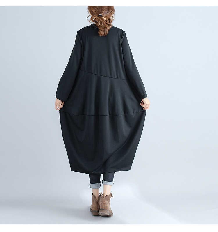 LANMREM, новинка 2018, модное ретро платье с длинным рукавом, маленькое, высокое, крутое, свободное, повседневное, в стиле пэчворк, в форме фонаря, женское платье, Vestido YE363