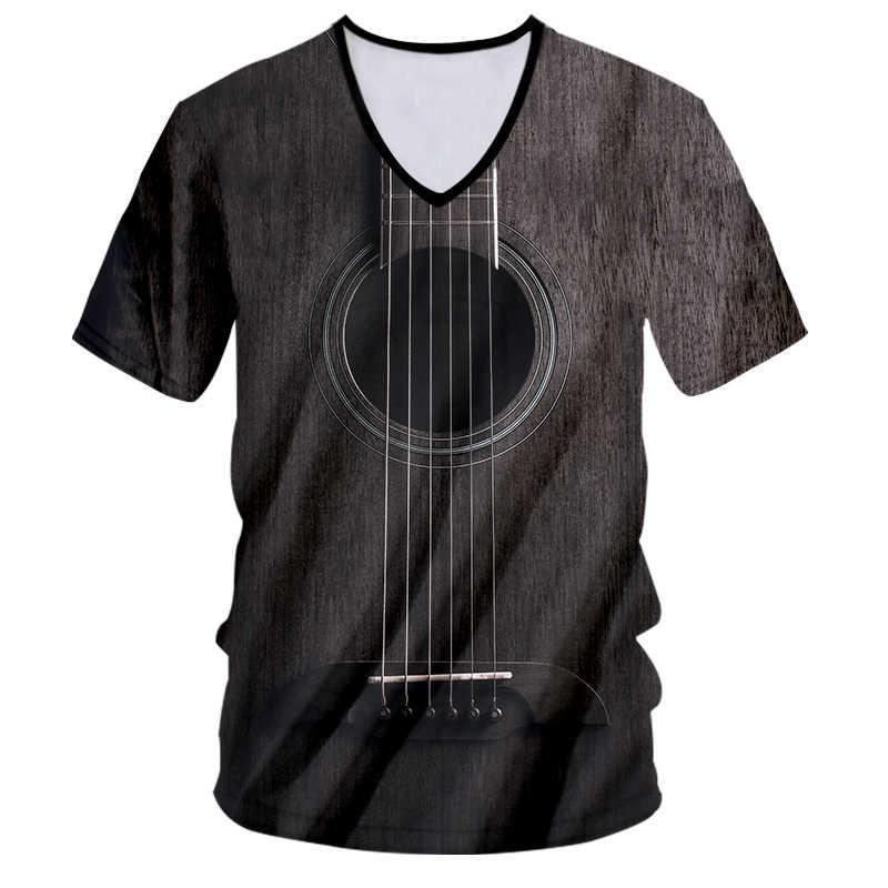 CJLM брендовая гитара, художественный музыкальный инструмент, летняя полноразмерная 3D-печать, модная футболка с v-образным вырезом, принт в стиле хип-хоп, Повседневная футболка