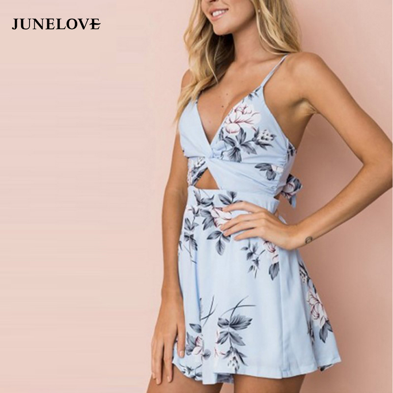 JuneLove 2018 summer bohemian Spaghetti women jumpsuit sexy hollow out female playsuit bow tie backless ladies rompers
