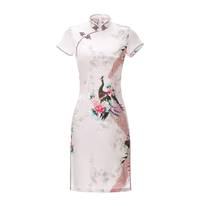 White Print Short Sleeve Mini Dress Chinese Women Silk Rayon Qipao Short Cheongsam Peacock&Flower Size S M L XL XXL 3XL 4XL 5XL
