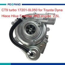 2KD dizel motor turbo kiti CT9 turbo şarj 17201 0L050 17201 30070 Toyota Hiace Hilux Dyna için Regiusace Fortuner 2.5L