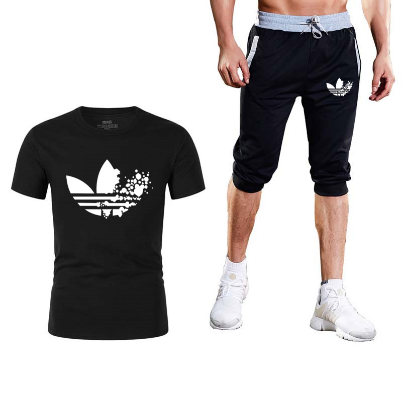 2019 Men's Suit Brand Sportswear New Men's T-shirt + Shorts Men's Leisure Short Sleeve T-shirt Men's Summer Leisure Shorts
