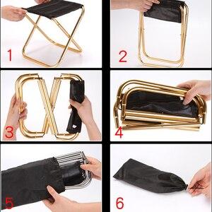 Image 4 - Уличное кресло, портативный складной стул 7075, стулья из алюминия 300 г, ручной стул, мебель для кемпинга, серый, золотой стул 80 кг, стул с сумкой