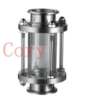 Stainless Steel Flow Sanitary Sight Glass 1.5 Tri Clamp Type 38mm Pipe OD Ferrule 50.5mm