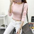 New Autumn Women T-shirt Knitting O-Neck Slim Long Sleeve Cropped Short Tops Casual Female Tee Tops  YZX089