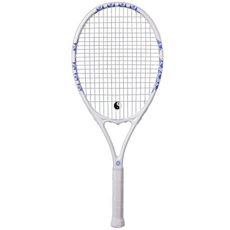 High Quality Carbon Fiber Tennis Racket Blue And White Federer Racquets Bag Sports Training Raquete Padel With String Overgrip