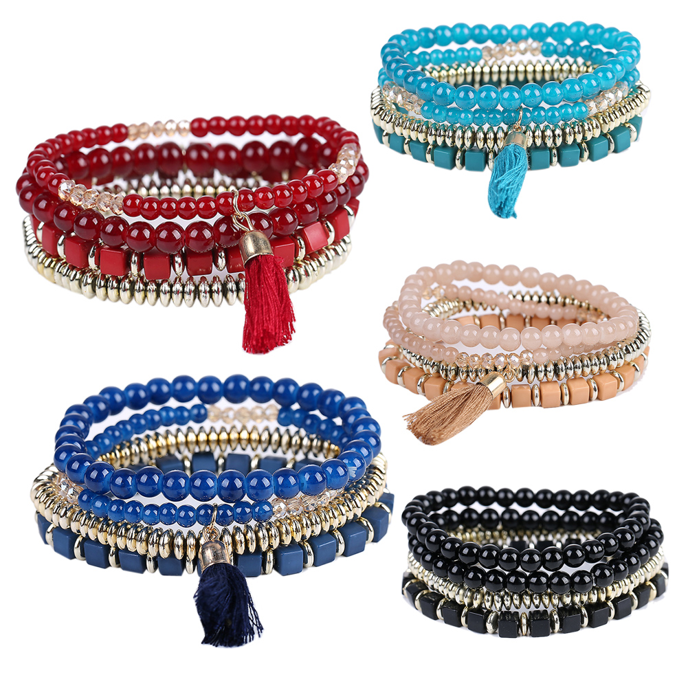 Fashion Bracelet for Girl Personalized Bohemian Ethnic Multilayer Beaded Tassel Elastic Bracelets &Bangle for Womens Best Gift