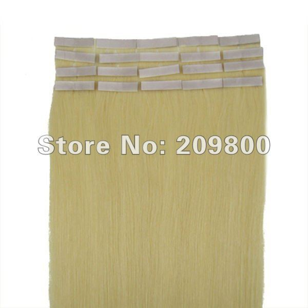 """16""""/18""""/20""""/22""""/24"""" 1set wholesale skin tape hair Straight  Human hair Extensions #613-light blonde free shipping"""
